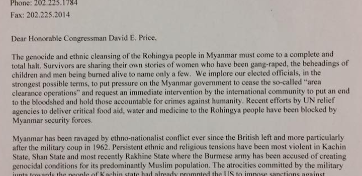 Rohingya Genocide – Letter to Democratic Congressman David Price