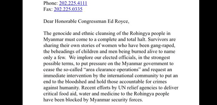 Rohingya Genocide – Letter to Republican Congressman Ed Royce